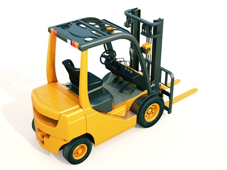 Modern forklift truck on light background photo