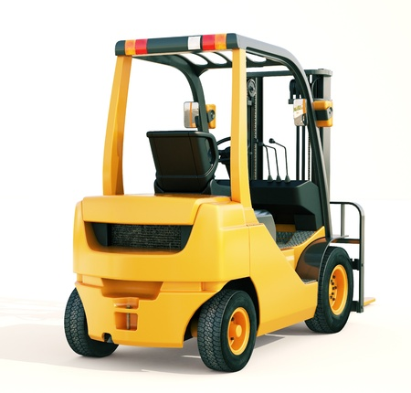 counterbalanced: Modern forklift truck on light background Stock Photo