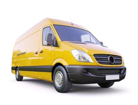 Modern commercial van on a light background