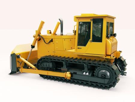 crawler: Heavy crawler bulldozer on a light background Stock Photo