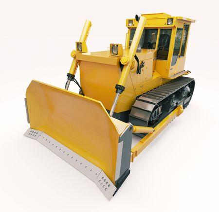 earthwork: Heavy crawler bulldozer on a light background Stock Photo