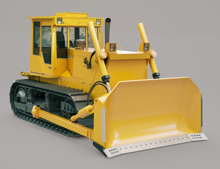 crawler: Heavy crawler bulldozer on a gray background Stock Photo
