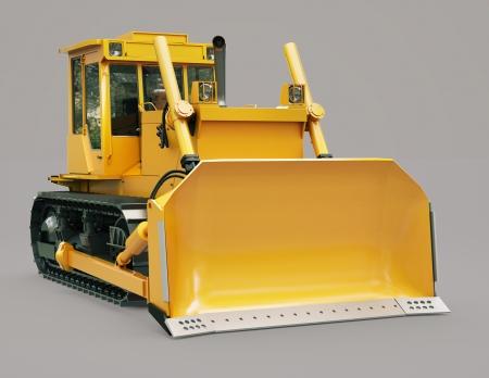 earthwork: Heavy crawler bulldozer on a gray background Stock Photo