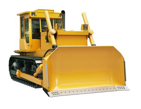 Heavy crawler bulldozer isolated on a white background photo