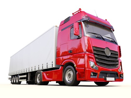 A modern semi-trailer truck on light background
