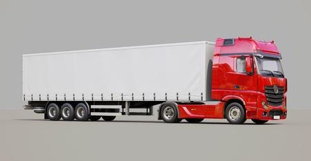 haulage: A modern semi-trailer truck on gray background
