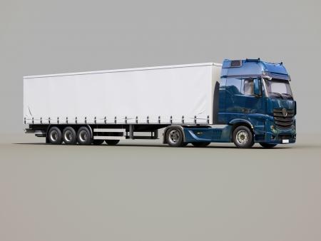 Een moderne oplegger truck op een grijze achtergrond Stockfoto