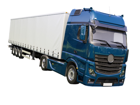 autotruck: A modern semi-trailer truck isolated on white background