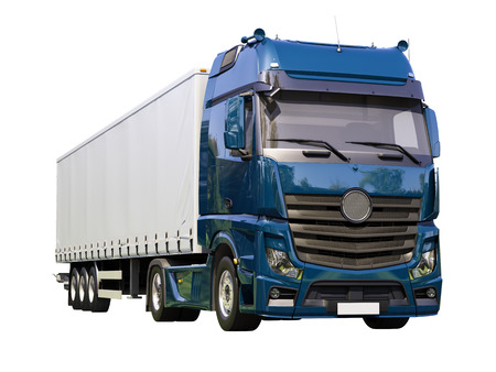 A modern semi-trailer truck isolated on white background