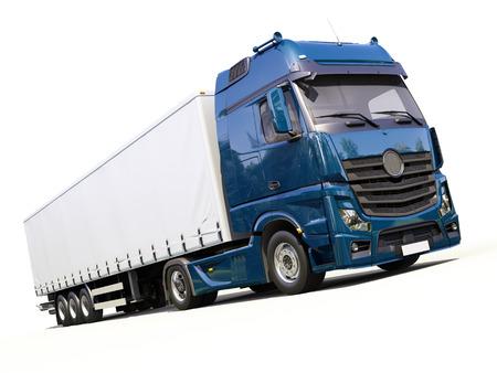 haulage: A modern semi-trailer truck on light background