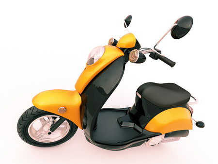 Modern classic scooter on a light background photo