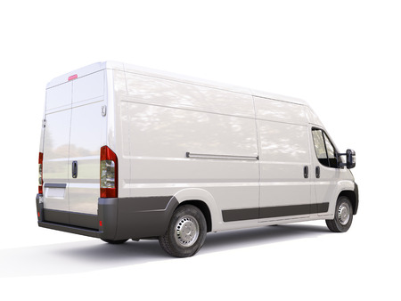 White commercial delivery van on a ligth background with shadow