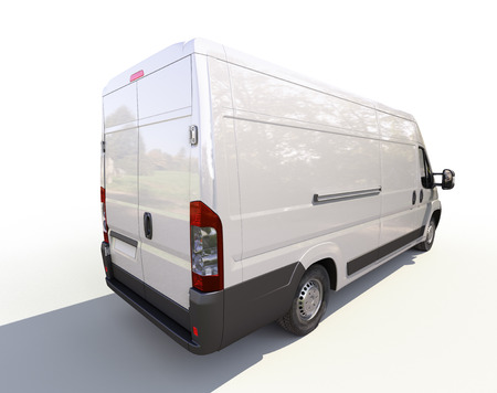 White commercial delivery van on a ligth background with shadow Stock Photo - 22490250