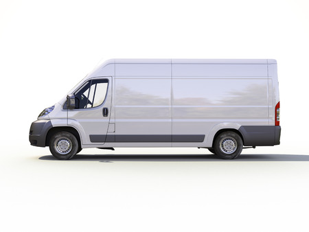 consignment: White commercial delivery van on a ligth background with shadow