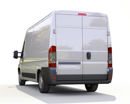 White commercial delivery van on a ligth background with shadow Stock Photo - 22490259