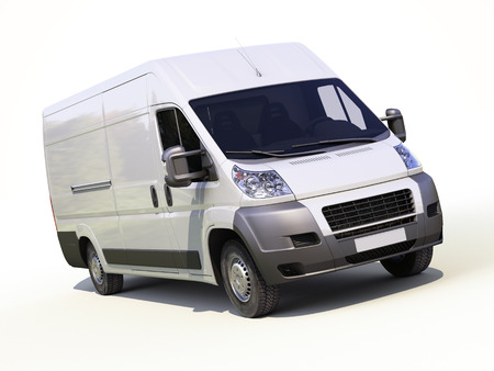 panel van: White commercial delivery van on a ligth background with shadow