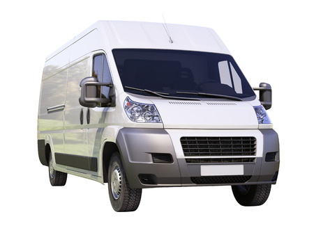 White commercial delivery van isolated on a white background Stock Photo - 22490278