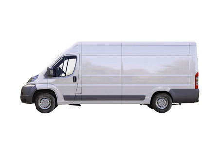 light duty: White commercial delivery van isolated on a white background