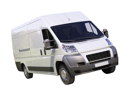 panel van: White commercial delivery van isolated on a white background