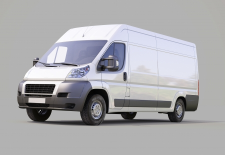 panel van: White commercial delivery van on gray background