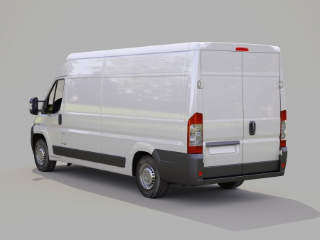 White commercial delivery van on gray background Stock Photo - 22490321