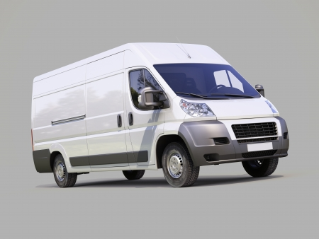 White commercial delivery van on gray background Stock Photo - 22490326