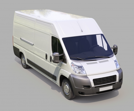 light duty: White commercial delivery van on gray background