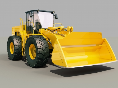 front loader: Modern front loader on gray background with shadow