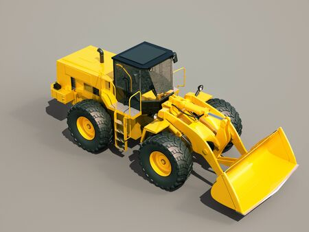 Modern front loader on gray background with shadow photo