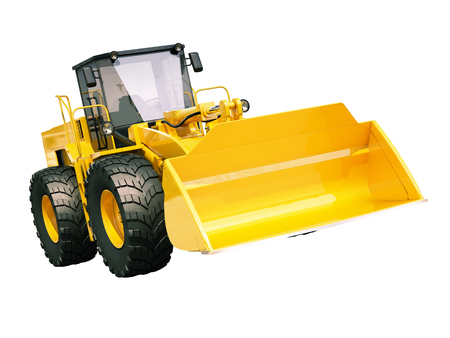 frontend: Modern front loader isolated on white background without shadow