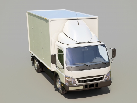 White commercial delivery truck on gray background Stock Photo - 22490472
