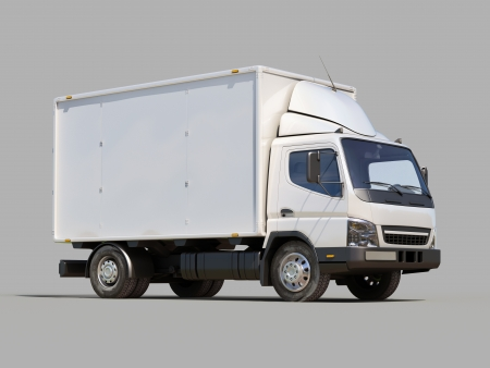 White commercial delivery truck on gray background Stock Photo - 22490476