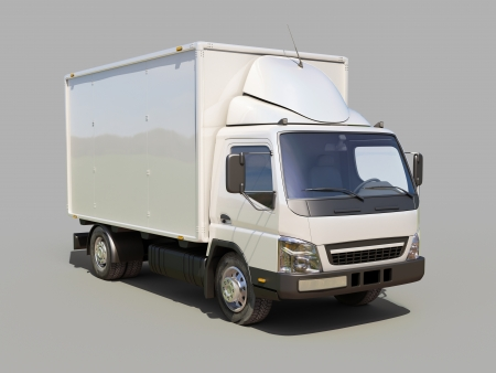 White commercial delivery truck on gray background Stock Photo - 22490480