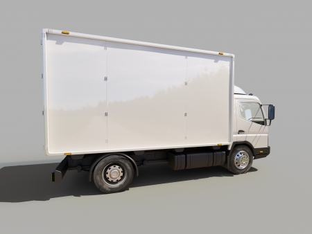 light duty: White commercial delivery truck on gray background