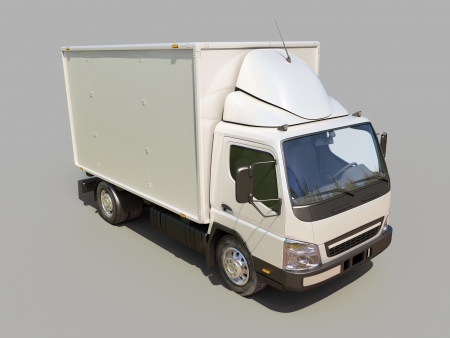 White commercial delivery truck on gray background Stock Photo - 22490495