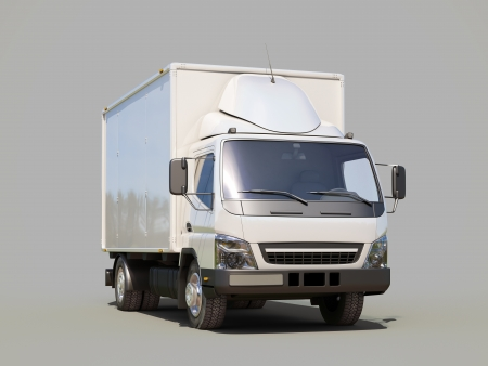 White commercial delivery truck on gray background Stock Photo - 22490498