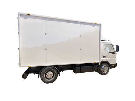 panel van: White commercial delivery truck isolated on a white background Stock Photo