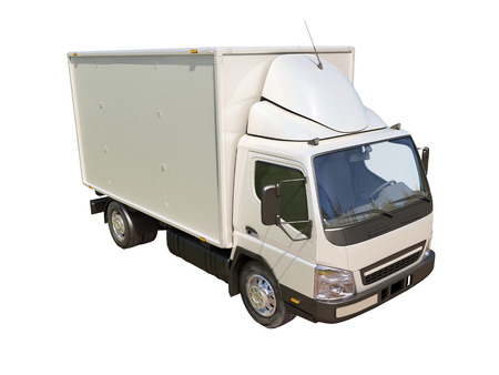 White commercial delivery truck isolated on a white background Stock Photo - 22490590