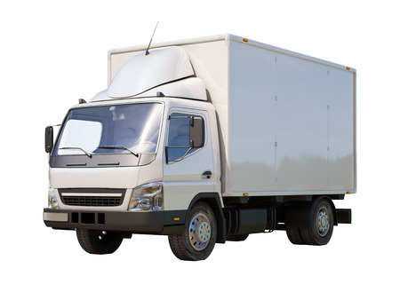delivery truck: White commercial delivery truck isolated on a white background Stock Photo