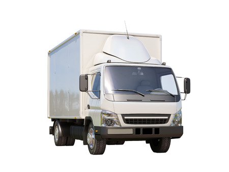 White commercial delivery truck isolated on a white background Stock Photo - 22490593