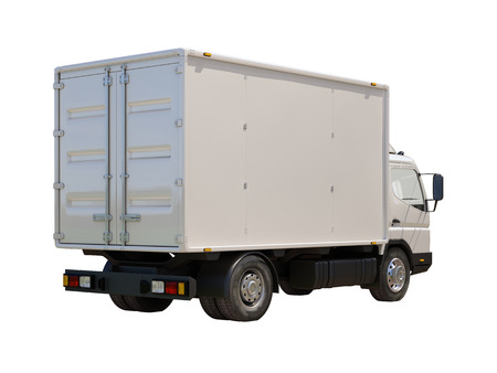 White commercial delivery truck isolated on a white background Stock Photo - 22490600