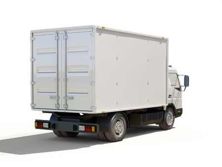 White commercial delivery truck on a ligth background with shadow Stock Photo - 22490603