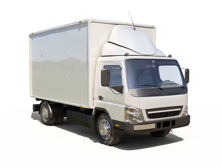 White commercial delivery truck on a ligth background with shadow Stock Photo - 22490621