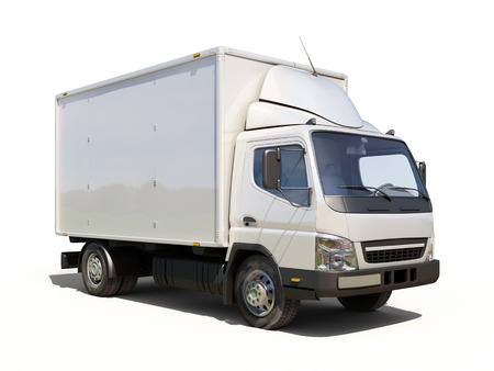 light duty: White commercial delivery truck on a ligth background with shadow Stock Photo
