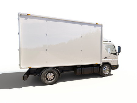 White commercial delivery truck on a ligth background with shadow Stock Photo - 22490627
