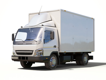 White commercial delivery truck on a ligth background with shadow 스톡 콘텐츠