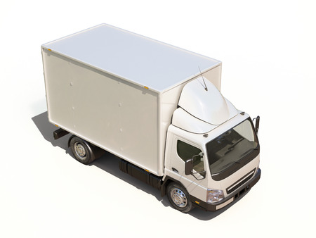 White commercial delivery truck on a ligth background with shadow Stock Photo - 22490632
