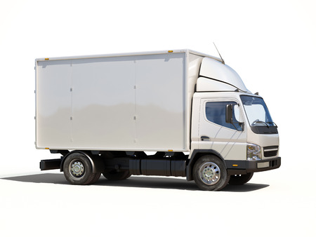 consignment: White commercial delivery truck on a ligth background with shadow Stock Photo