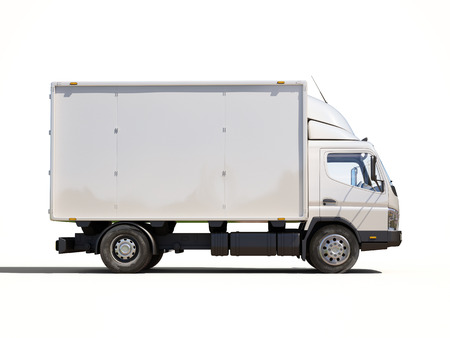 White commercial delivery truck on a ligth background with shadow Banque d'images