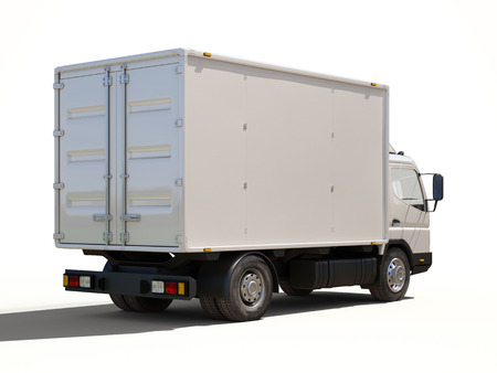 panel van: White commercial delivery truck on a ligth background with shadow Stock Photo
